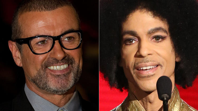 The Grammy Awards will feature musical tributes to the late George Michael, left, and Prince. (Leon Neal / AFP/Getty Images; Matt Sayles / Associated Press)