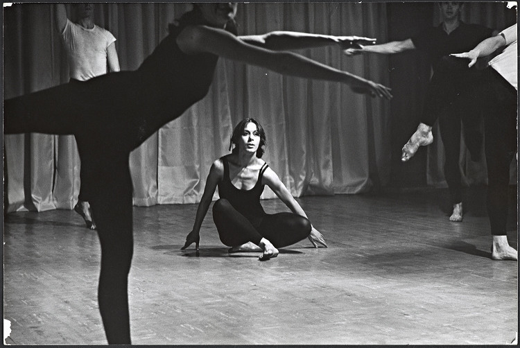 "Dancer Yvonne Rainer in ""Terrain."""