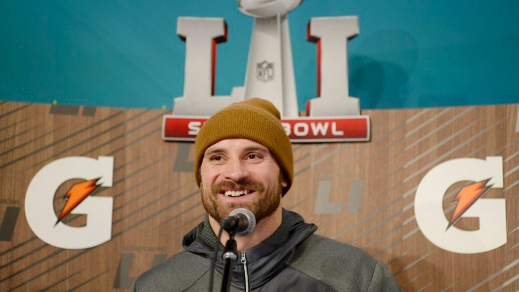 New England Patriots defensive end Chris Long during Super Bowl LI Opening Night at Minute Maid Park.