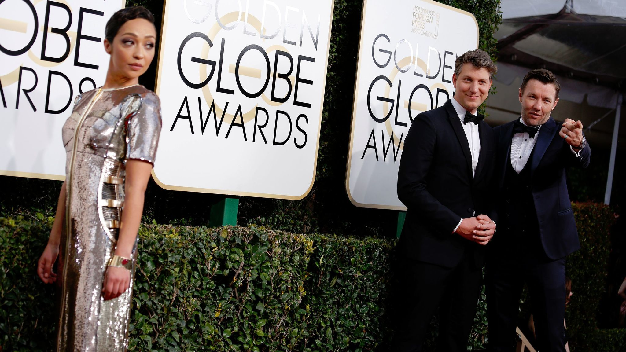 At the Golden Globes, Negga's shimmering, custom-made Louis Vuitton gown is stitched along the torso to give a subtle suggestion of armor.