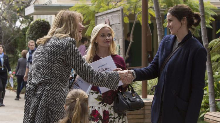 """Laura Dern, left, Reese Witherspoon and Shailene Woodley in a scene from HBO's all-star adaptation of the bestseller """"Big Little Lies."""""""