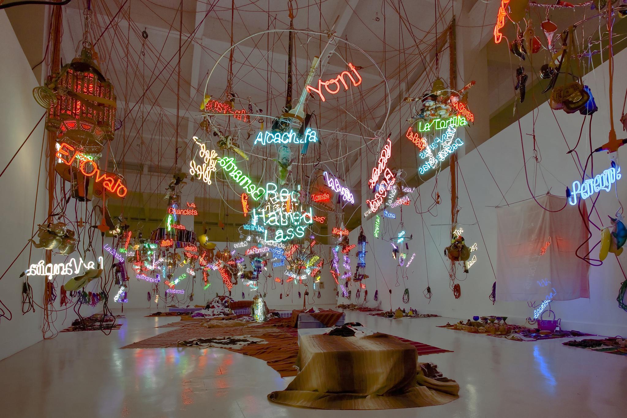 """""""Tijuanatanjierchandelier,"""" 2006, by Jason Rhoades, part of a survey of the artist's works at Hauser Wirth & Schimmel."""