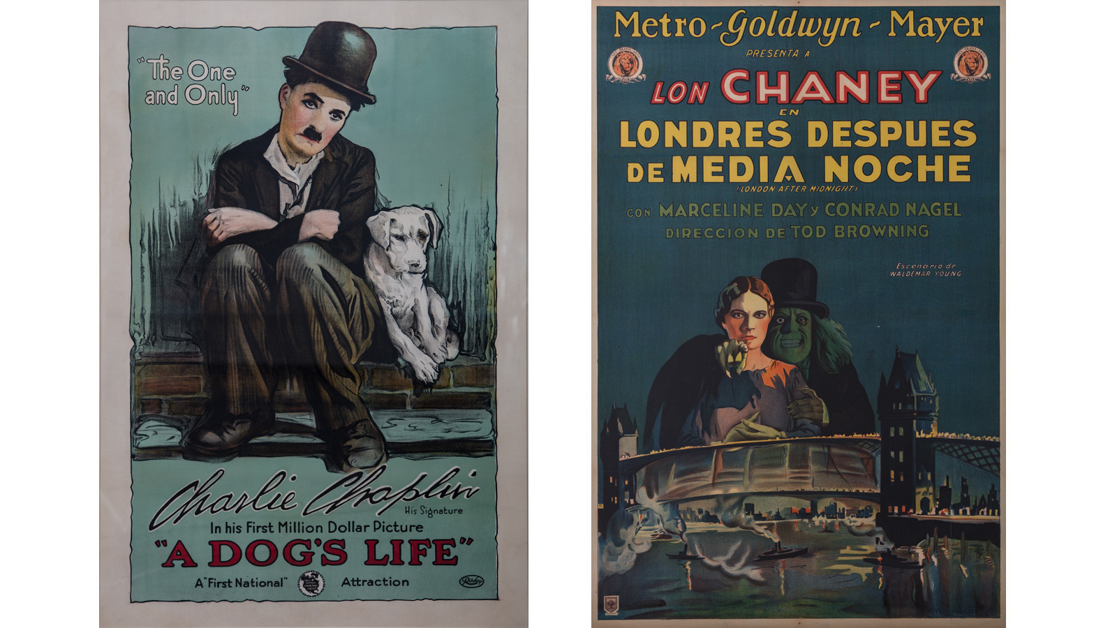 Posters from the age of silent film, on view at the City of Brea Art Gallery.