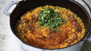 Red lentil soup with berbere