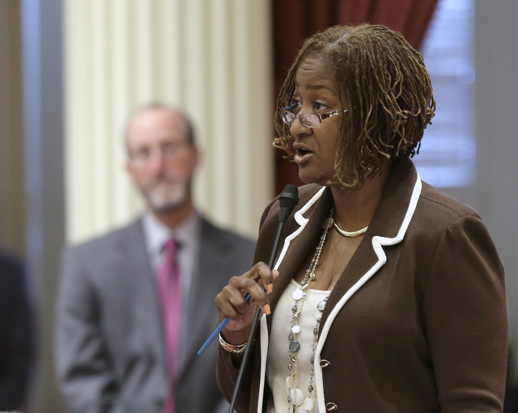State Sen. Holly Mitchell (D-Los Angeles) criticized the 2015 budget before breaking ranks to abstain on the vote.
