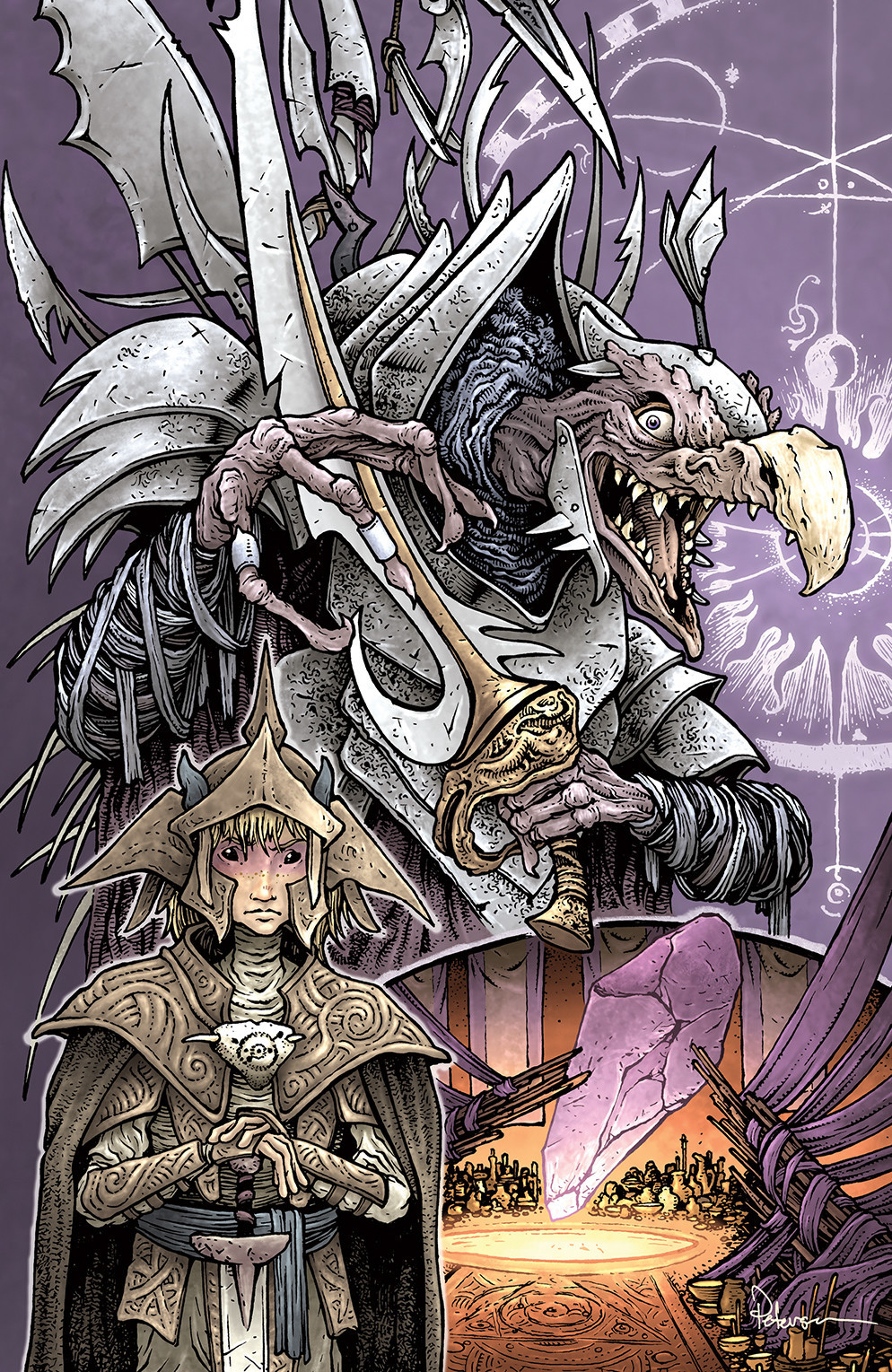 """The variant cover for """"The Power of the Dark Crystal"""" No. 1 by David Petersen."""