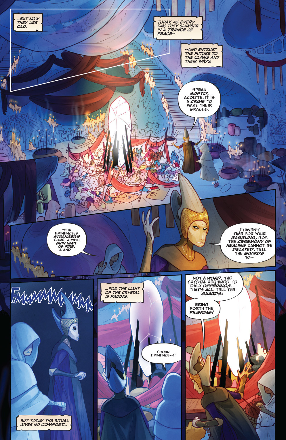 """A page from """"The Power of the Dark Crystal"""" No. 1 by Simon Spurrier and Kelly and Nichole Matthews."""