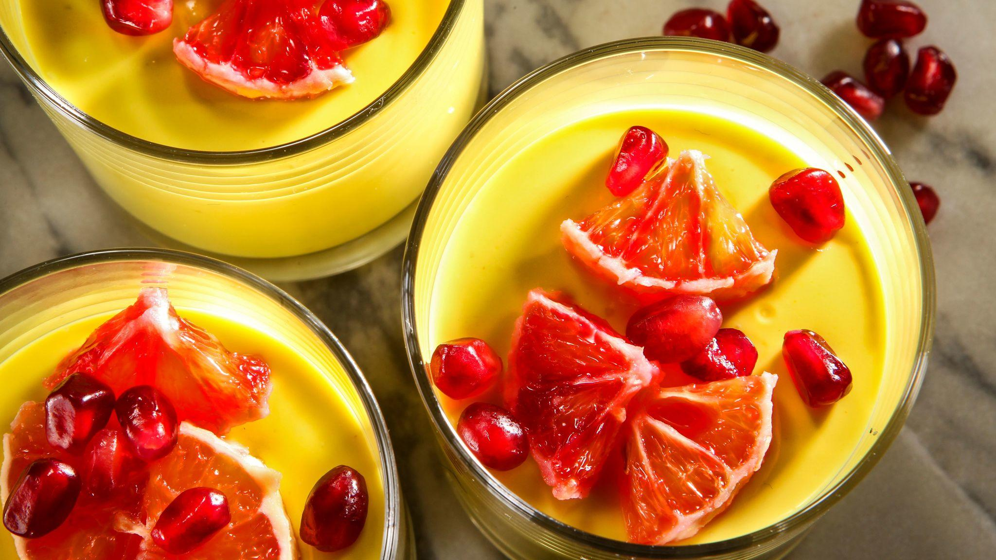 Turmeric panna cotta with pomegranate and orange