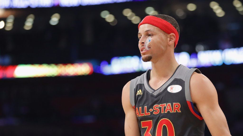 Stephen Curry #30 of the Golden State Warriors looks on in the first half of the 2017 NBA All-Star Game at Smoothie King Center on February 19, 2017 in New Orleans, Louisiana.