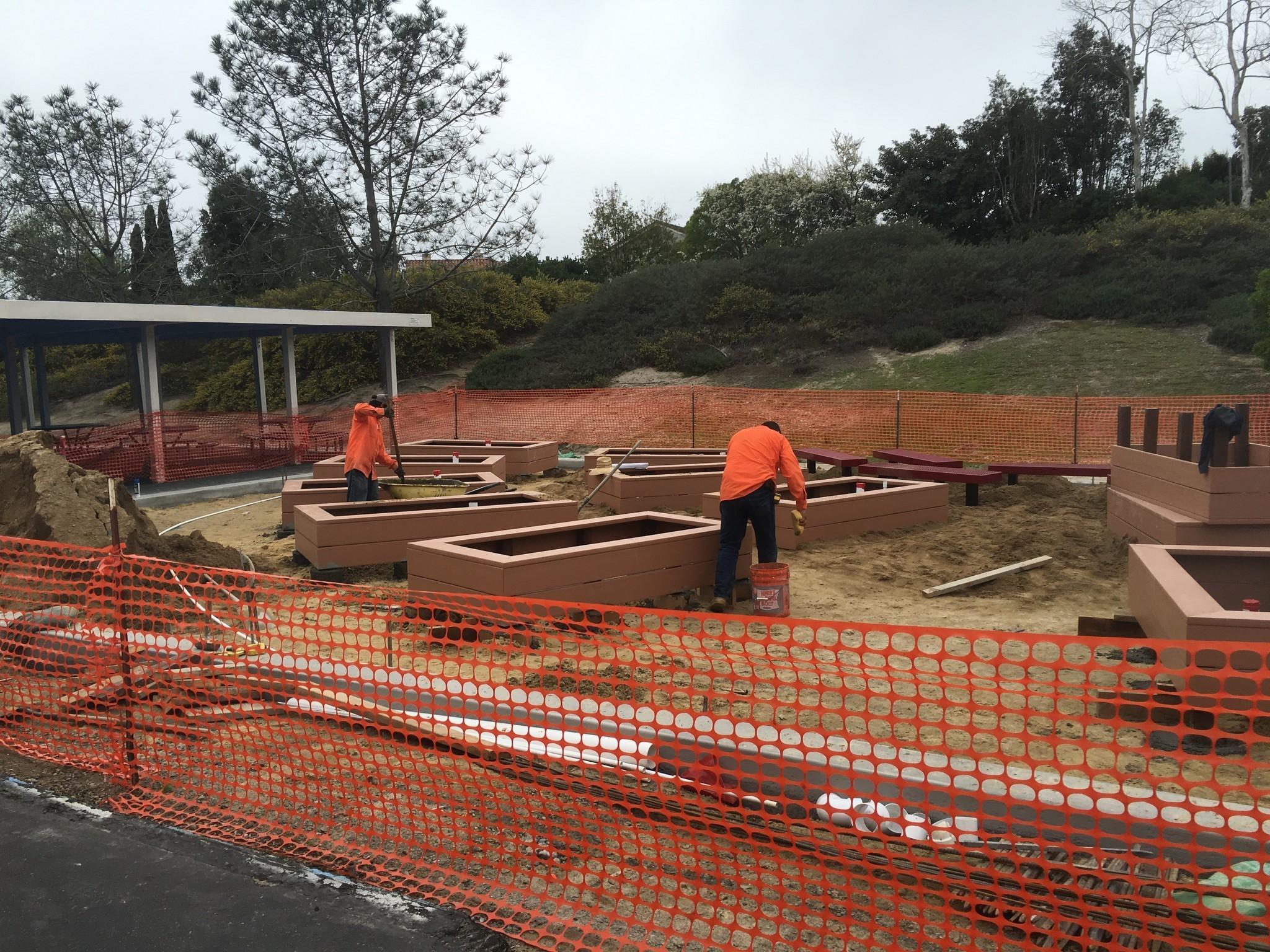 Work is underway on the new garden at Solana Highlands School.