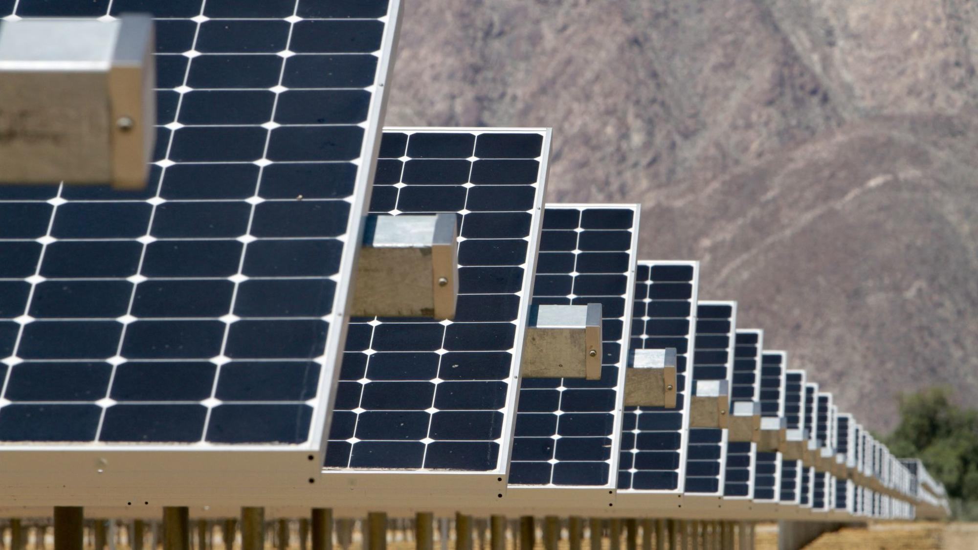 Rows of solar panels at the new Solar Generating Station in Borrego Springs.