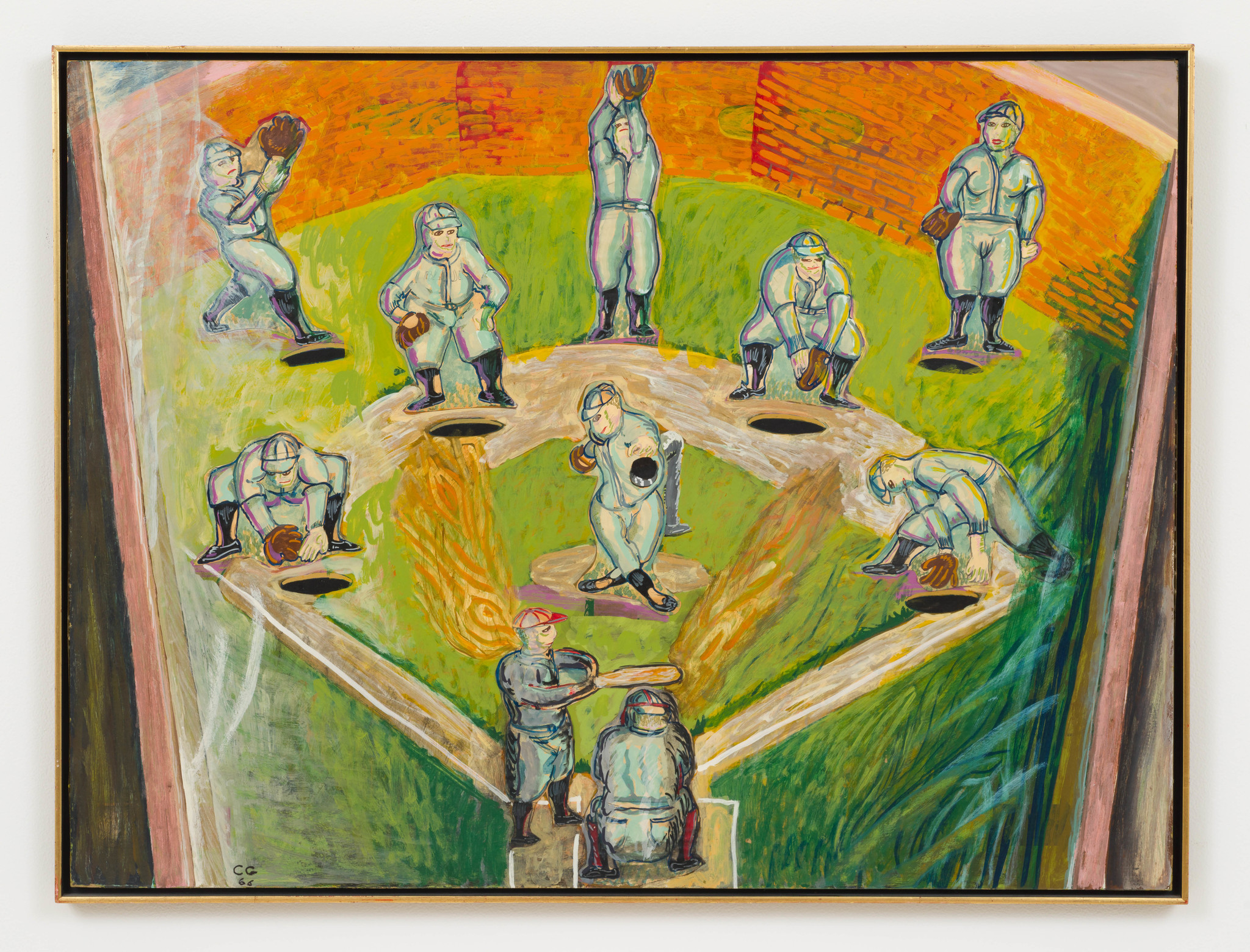 "Charles Garabedian's ""Pinball Baseball,"" 1966, collage and flo-paque on paper, 30 inches by 40 inches"