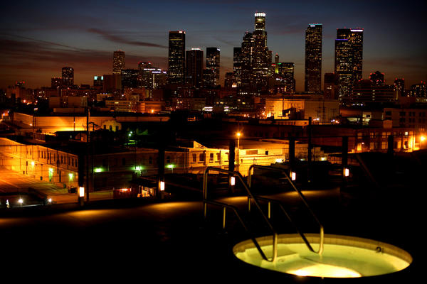A view of the downtown skyline from the room of the Barker Block loft complex in L.A.'s Arts District. (Los Angeles)