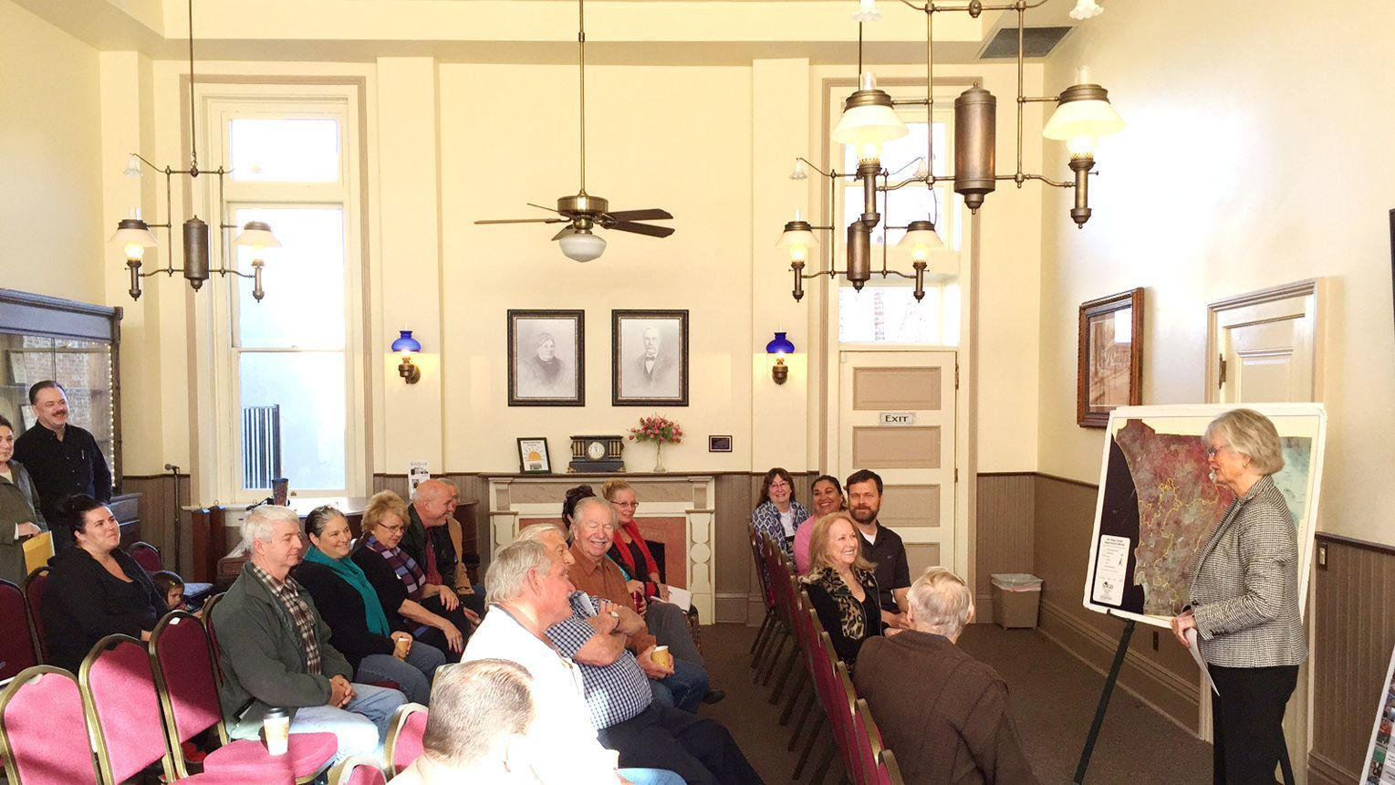 County Supervisor Dianne Jacob, right, listens as members of the public introduce themselves during her Feb. 23 Coffee with Constituents in Ramona Town Hall.
