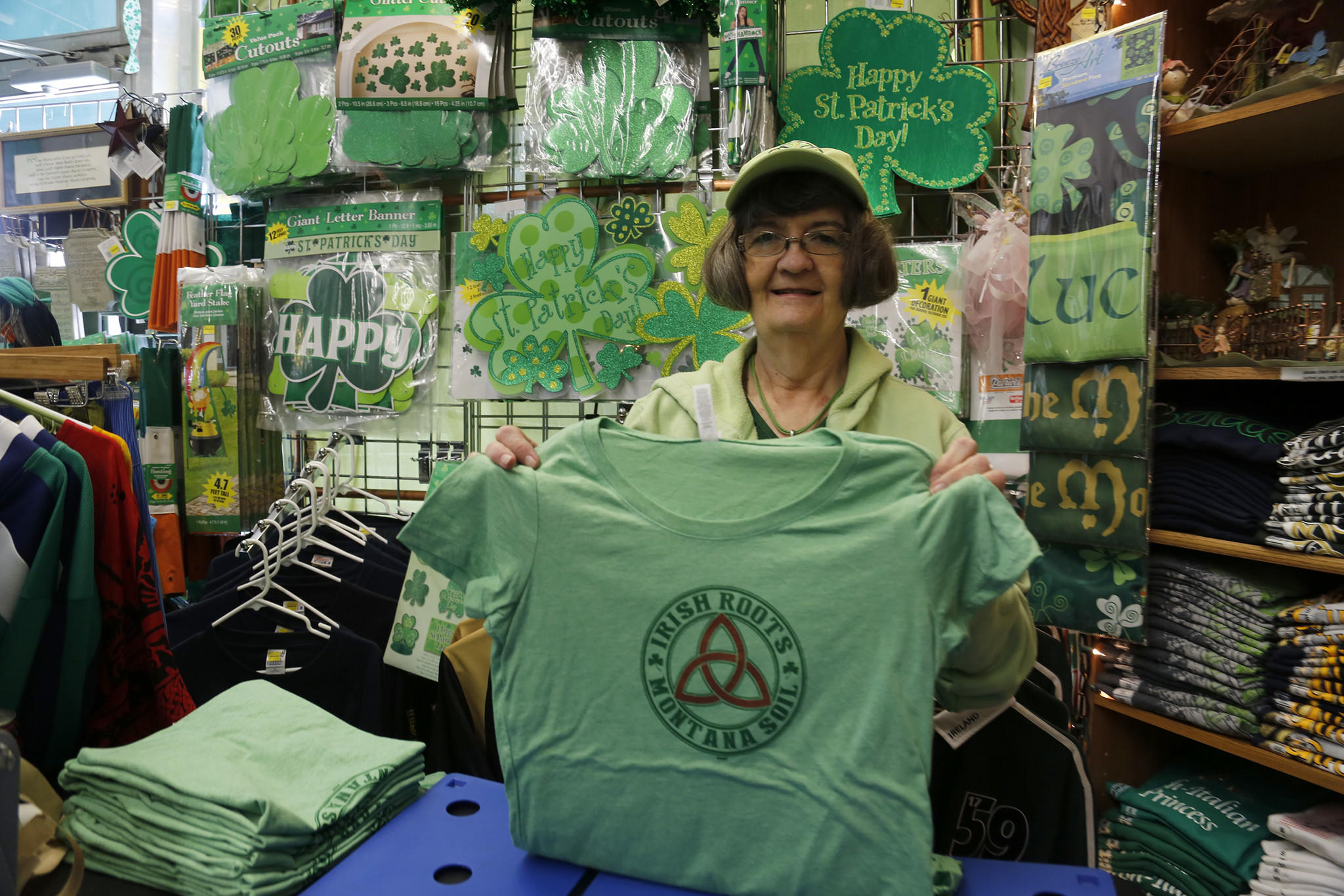 Proud of her Irish heritage, Monica Cavanaugh sells everything Irish in her shop in Butte, Montana.
