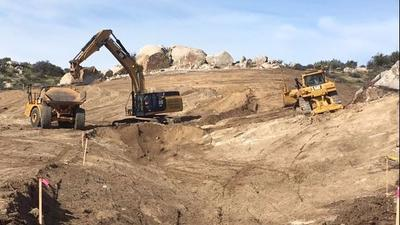 Construction work on the site of the Tule Wind Project in San Diego's East County.