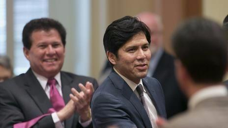 Senator Kevin de Leon,D-Los Angeles, second from left, receives congratulations from other lawmakers after he was elected as the new Senate President Pro Tem at the Capitol in Sa