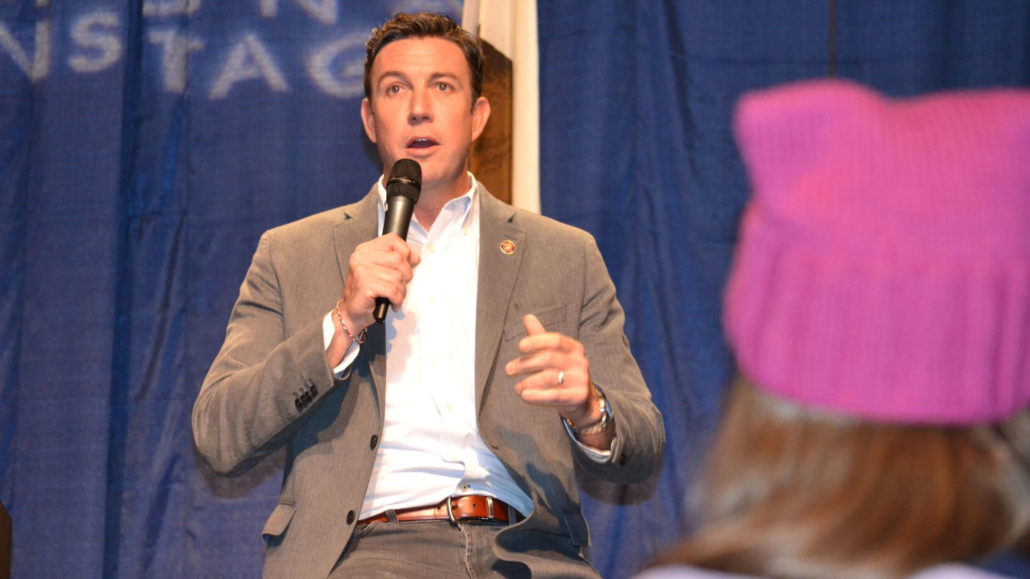 Congressman Duncan Hunter answers a question about personal expenses charged to his campaign account. Hunter said they were mistakes made by his campaign and all the charges have been repaid..