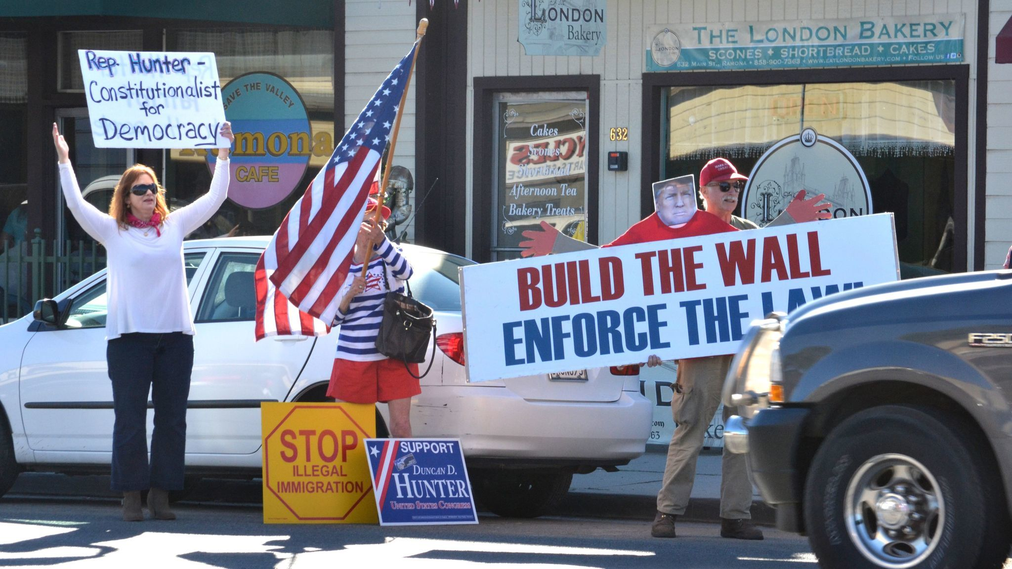 Constituents show their support for Congressman Duncan Hunter and President Donald Trump's plan to build a wall along the border with Mexico.