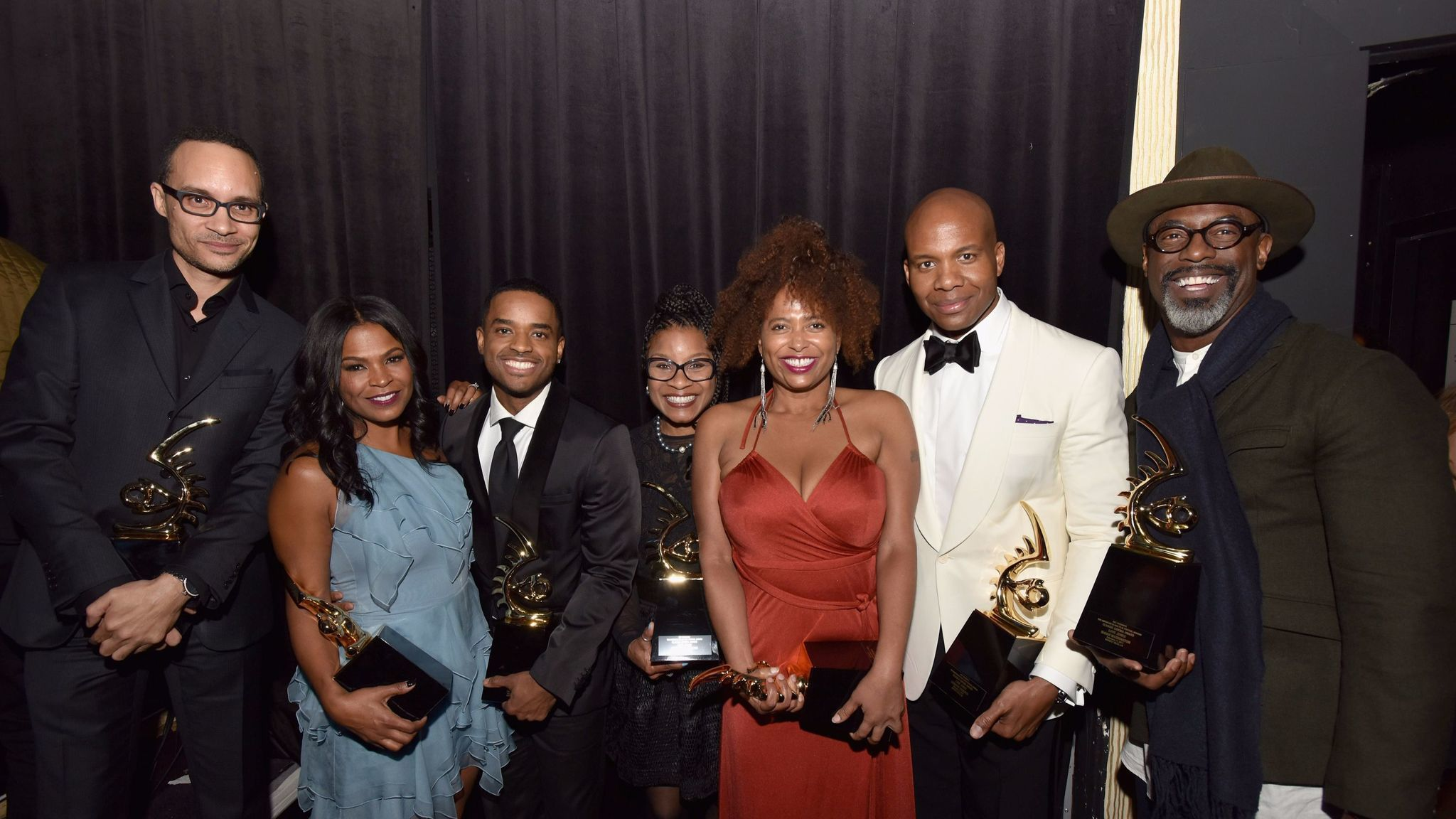 Theodore Witcher, Nia Long, Larenz Tate, Bernadette Speakes, Lisa Nicole Carson, Leonard Roberts and Isaiah Washington at the American Black Film Festival Honors.