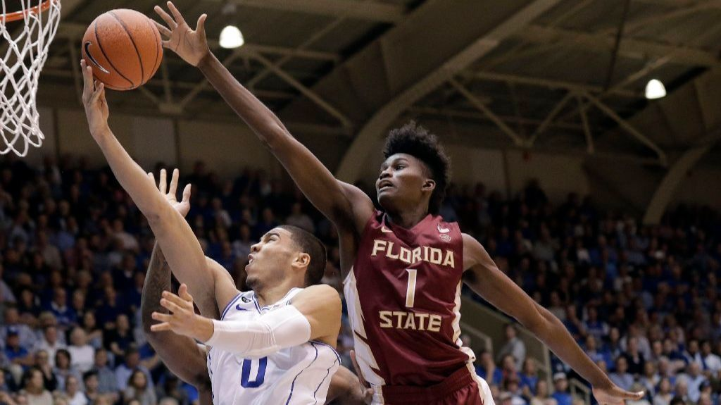 Florida State's Jonathan Isaac defends against Duke's Jayson Tatum during a game on Feb. 28.