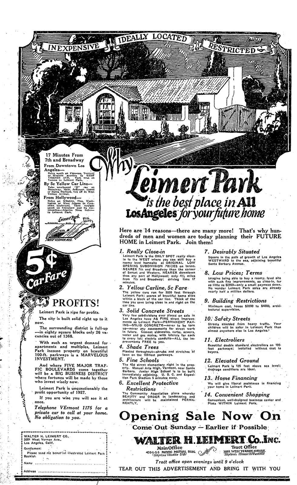 An ad for the original Leimert Park development that appeared in the Los Angeles Times in 1927.
