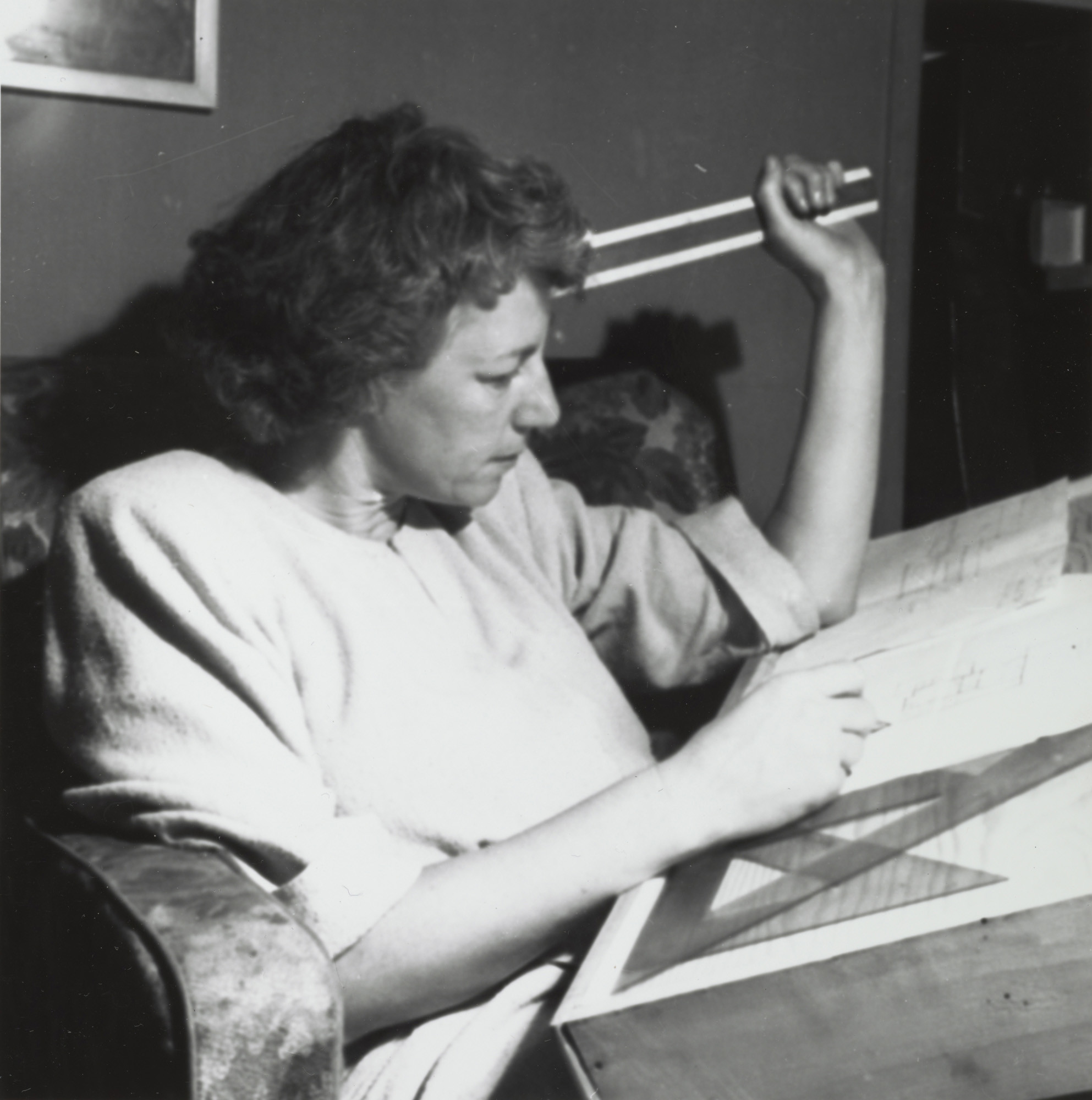 Esther McCoy at her drafting board in the mid-1940s.