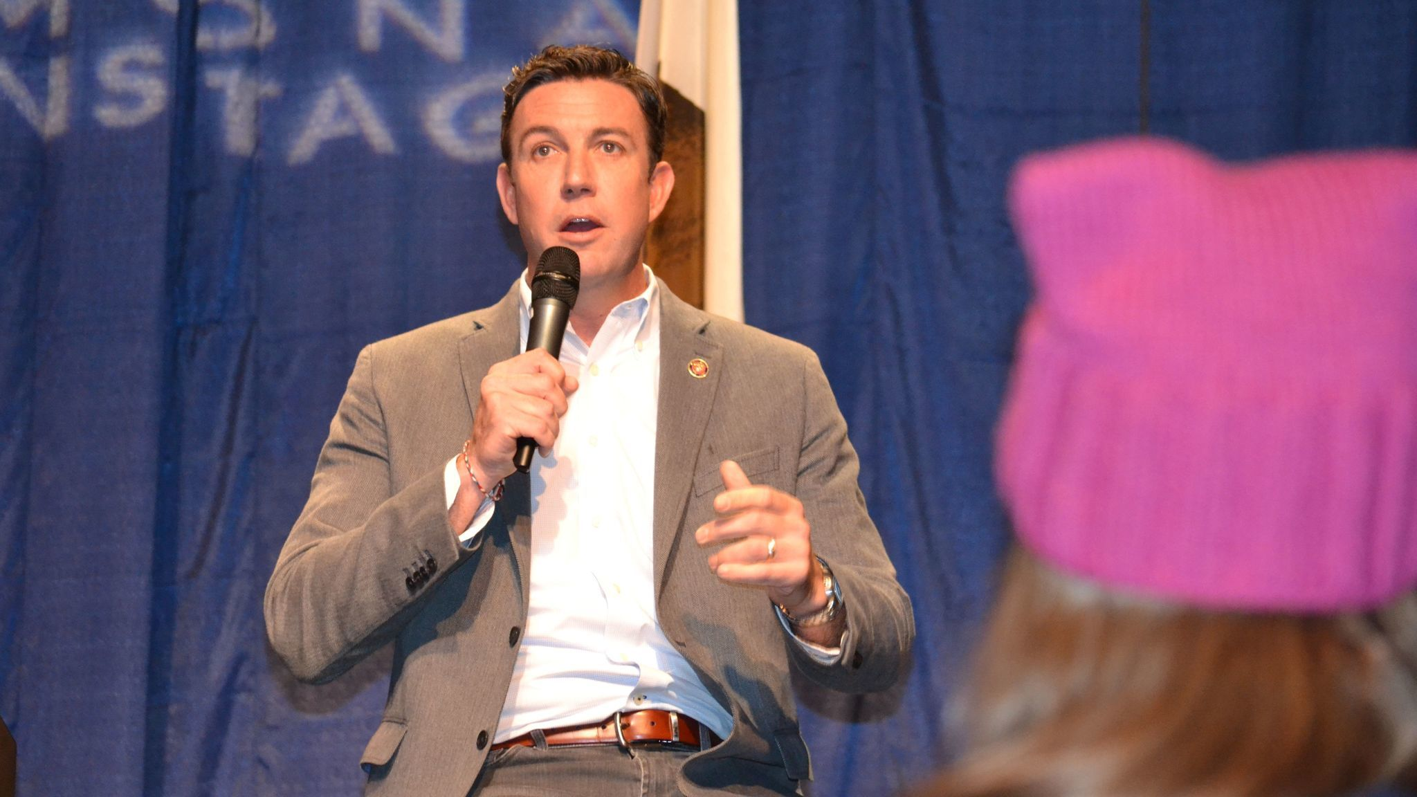 Congressman Duncan Hunter answers a question about personal expenses charged to his campaign account. Hunter said they were mistakes made by his campaign and all the charges have been repaid.