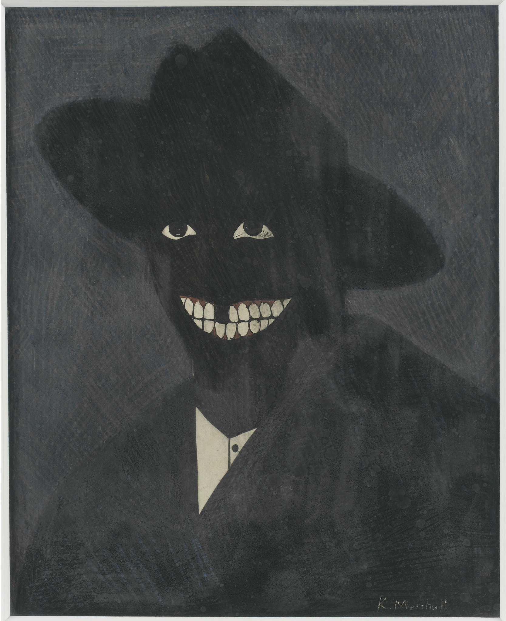 "Kerry James Marshall, ""A Portrait of the Artist as a Shadow of His Former Self,"" 1980, egg tempera on paper"