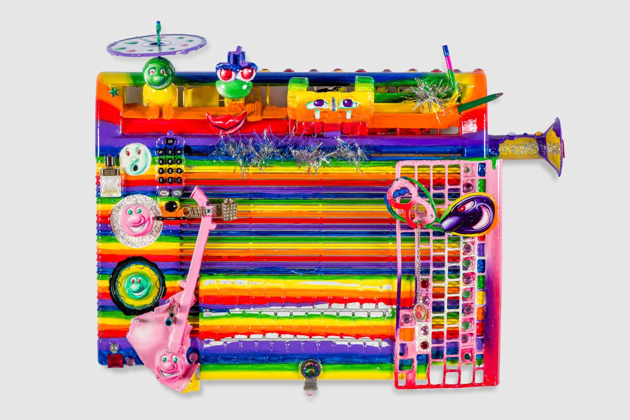 """Kenny Scharf's """"Gary O'Neal,"""" 2016, mixed media assemblage, 19 inches by 22 inches by 7 inches."""