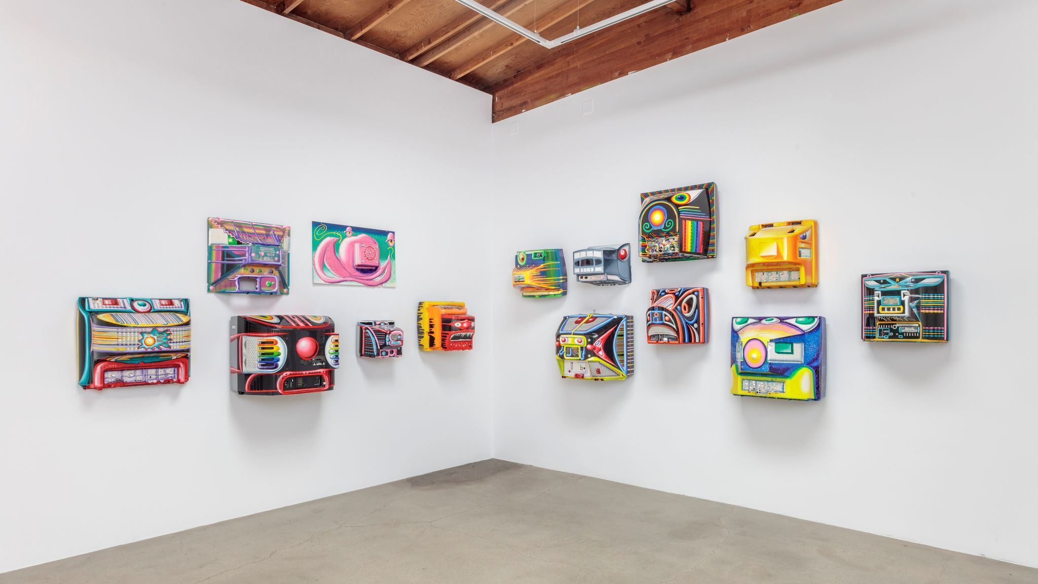 """Installation view of Kenny Scharf's """"Blox and Bax"""" at Honor Fraser."""