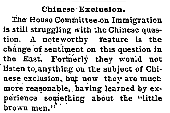 A clipping from a Feb. 10, 1892 L.A. Times editorial.