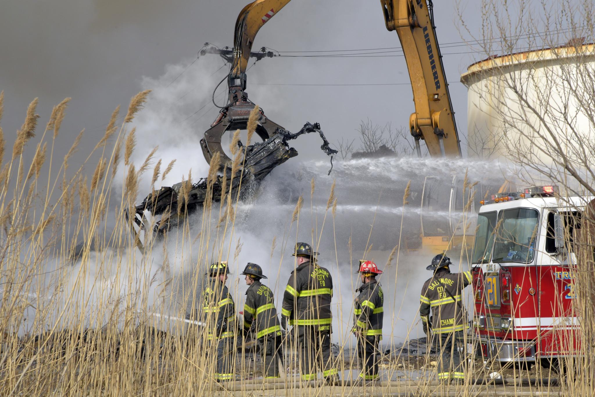 Baltimore fire crews battle 'junk yard fire' in Fairfield ...