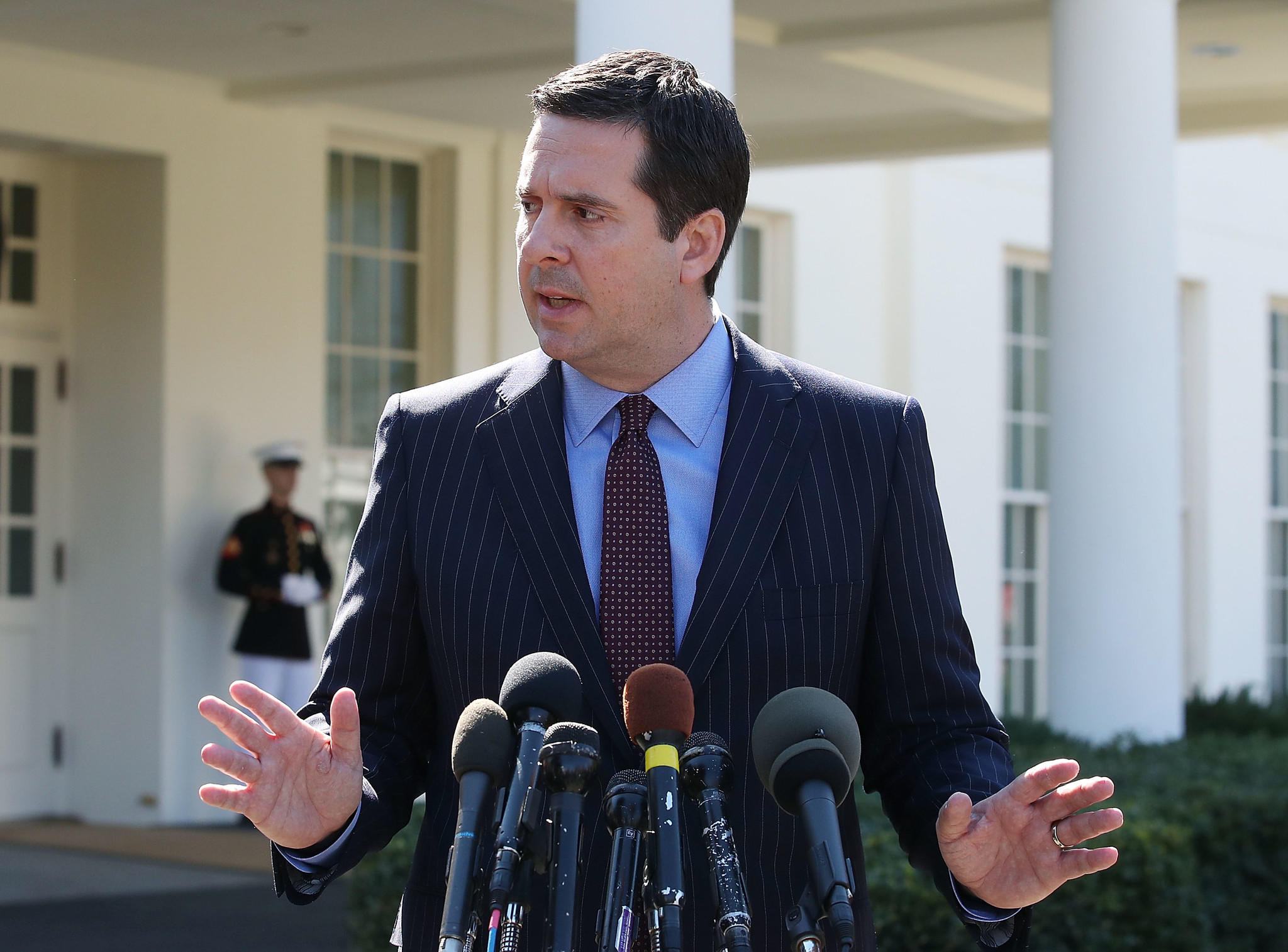 House Intelligence Committee Chairman Devin Nunes speaks to reporters after a meeting at the White House on March 22.