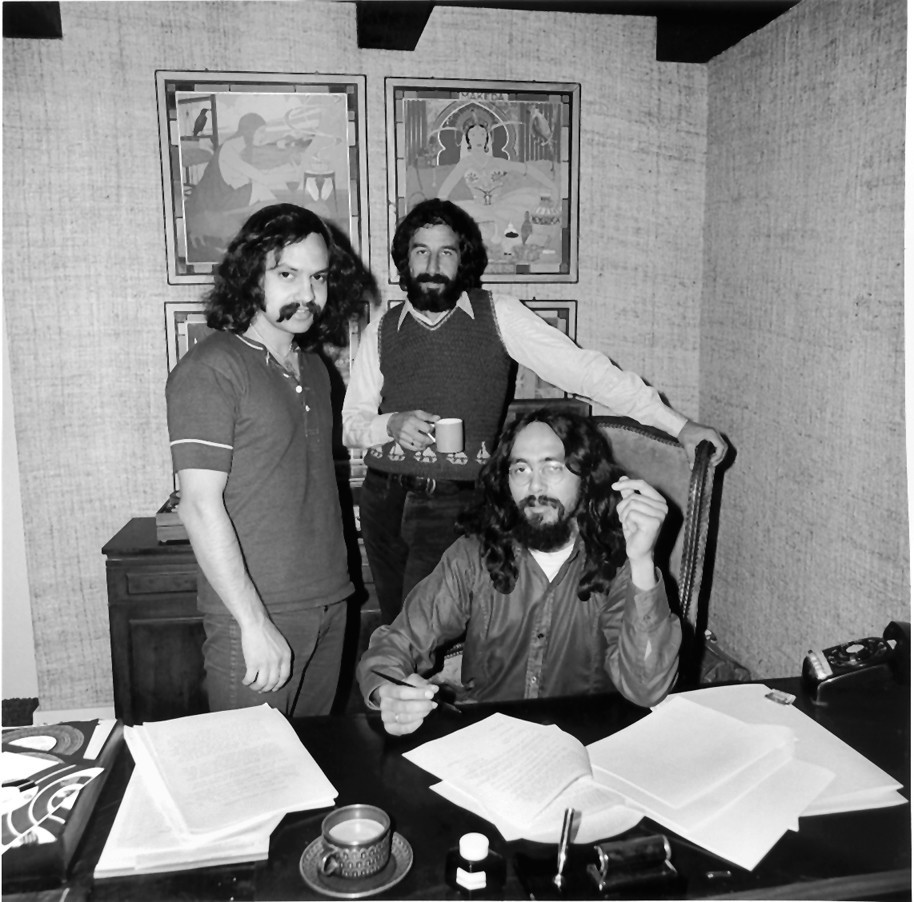 Cheech Marin, left, and Tommy Chong, seated, with record producer Lou Adler in 1970.