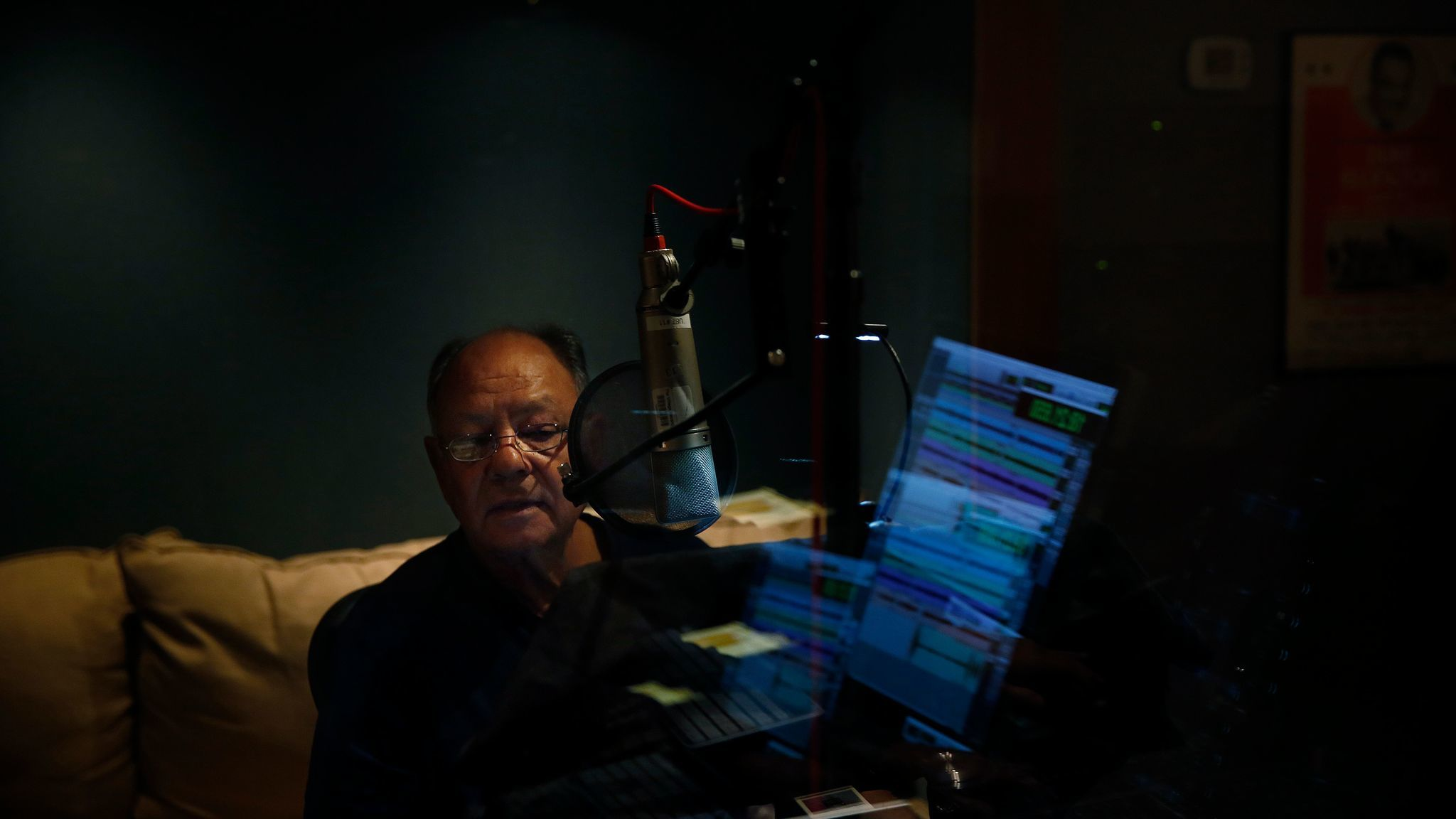Cheech Marin records the audio book of his memoir at The Village on December 8, 2016.