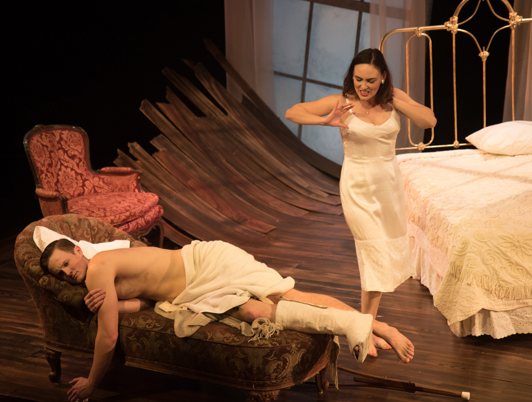 """Ross Philips is Brick and Rebecca Mozo portrays Maggie in Antaeus Theatre Company's revival of Tennessee Williams' """"Cat on a Hot Tin Roof."""""""