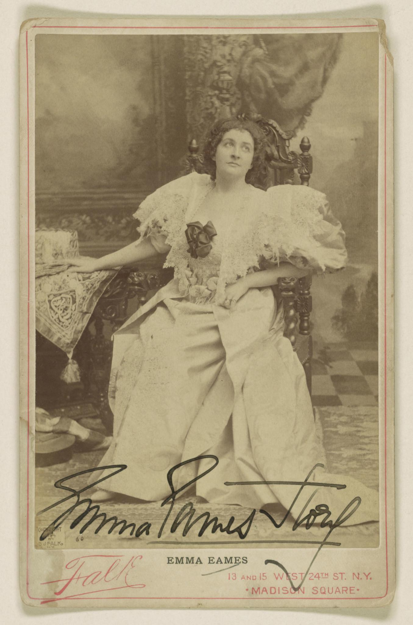 Emma Eames, gelatin silver print, 1894.