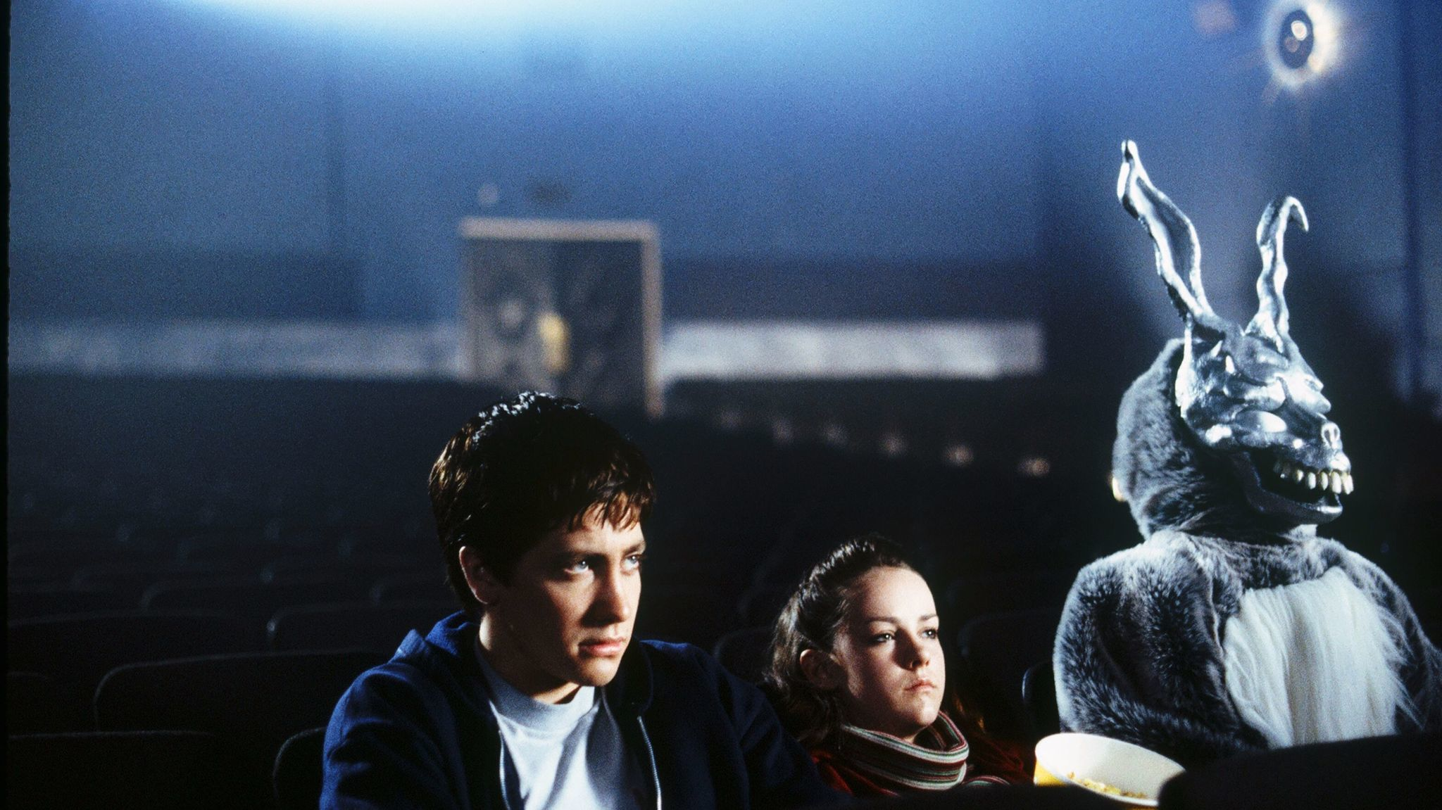 Jake Gyllenhaal as Donnie Darko, Jena Malone as Gretchen Ross and James Duval as Frank in 2001's