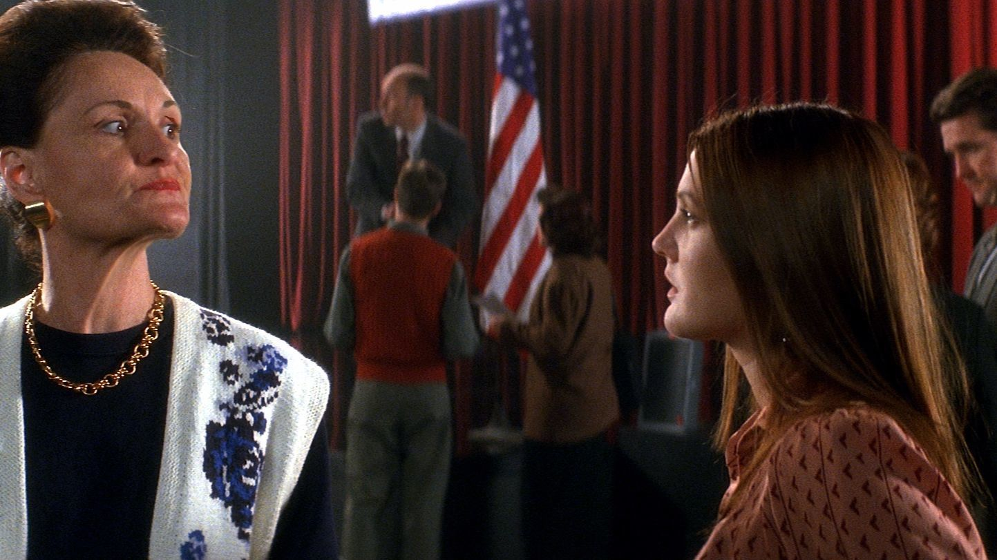 Beth Grant, left, and Drew Barrymore in the 2004 director's cut of 2001's