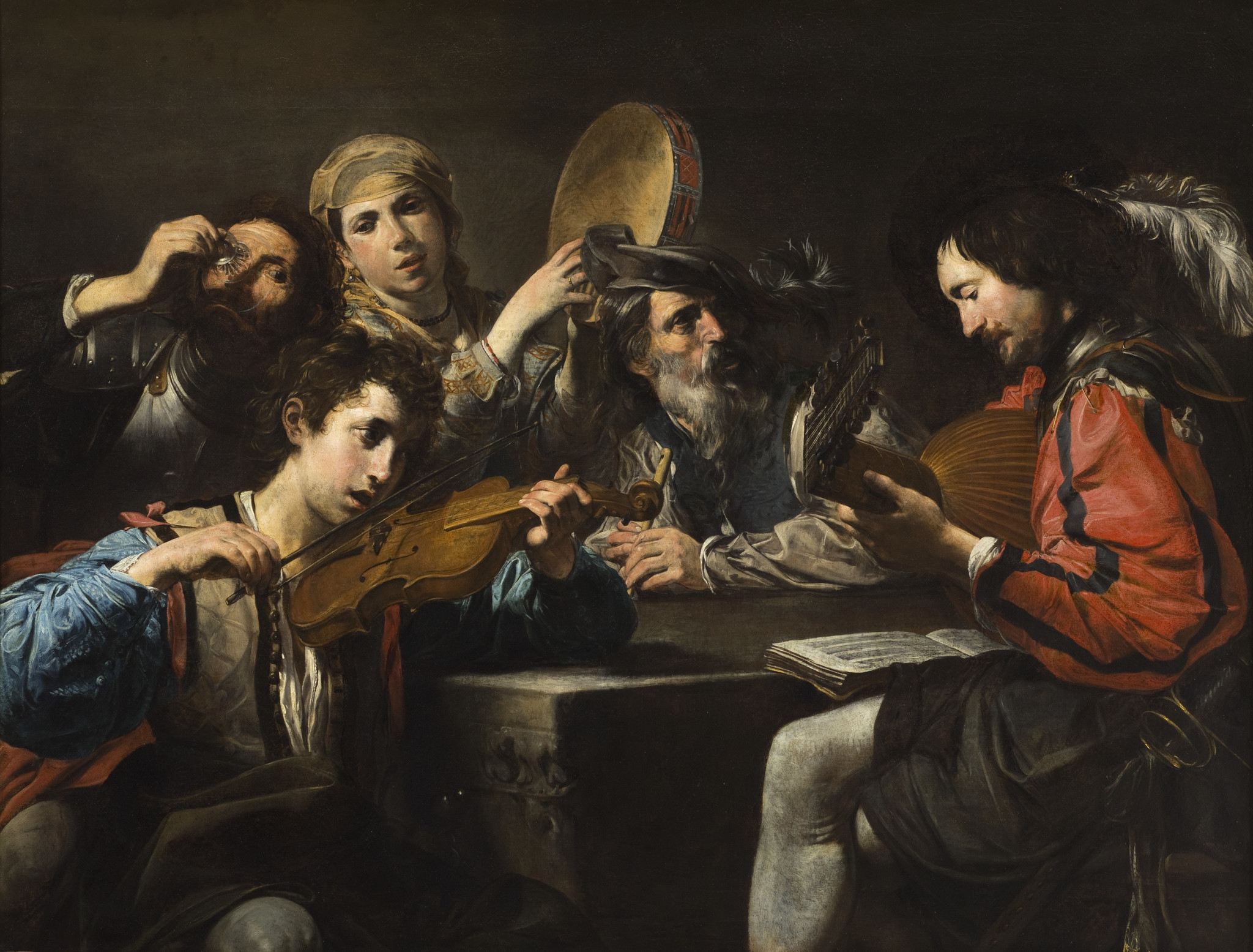 """"""" Musical Party"""" by Valentin de Boulogne, acquired by J. Patrice Marandel for LACMA with funds from the Ahmanson Foundation."""