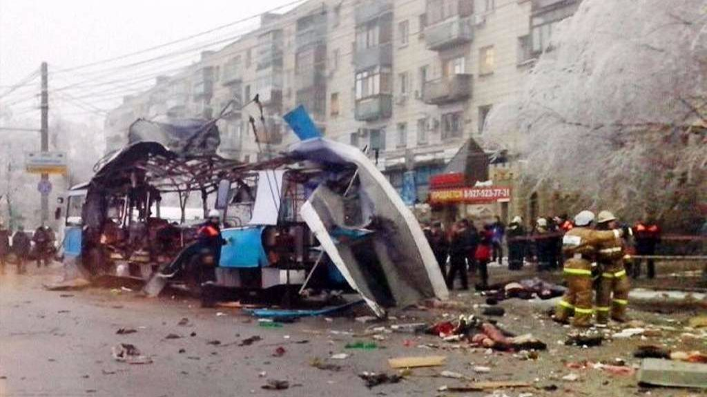 The wreckage from a suicide attack on a trolley bus in Volgograd.