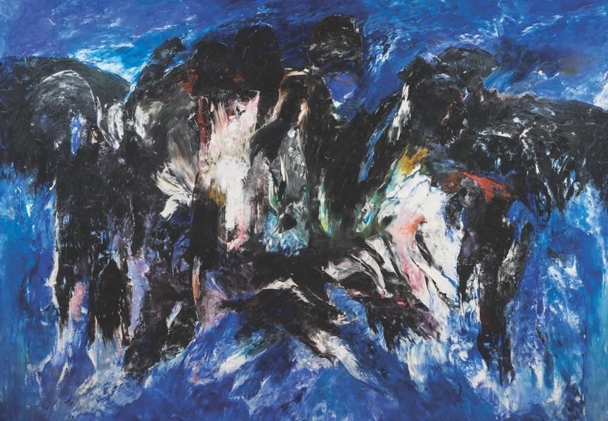 """Sonia Gechtoff, """"Children of Frejus,"""" 1959, oil on canvas"""