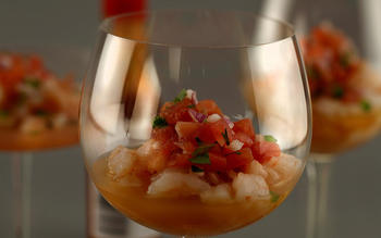 Warm shrimp cocktail with mescal