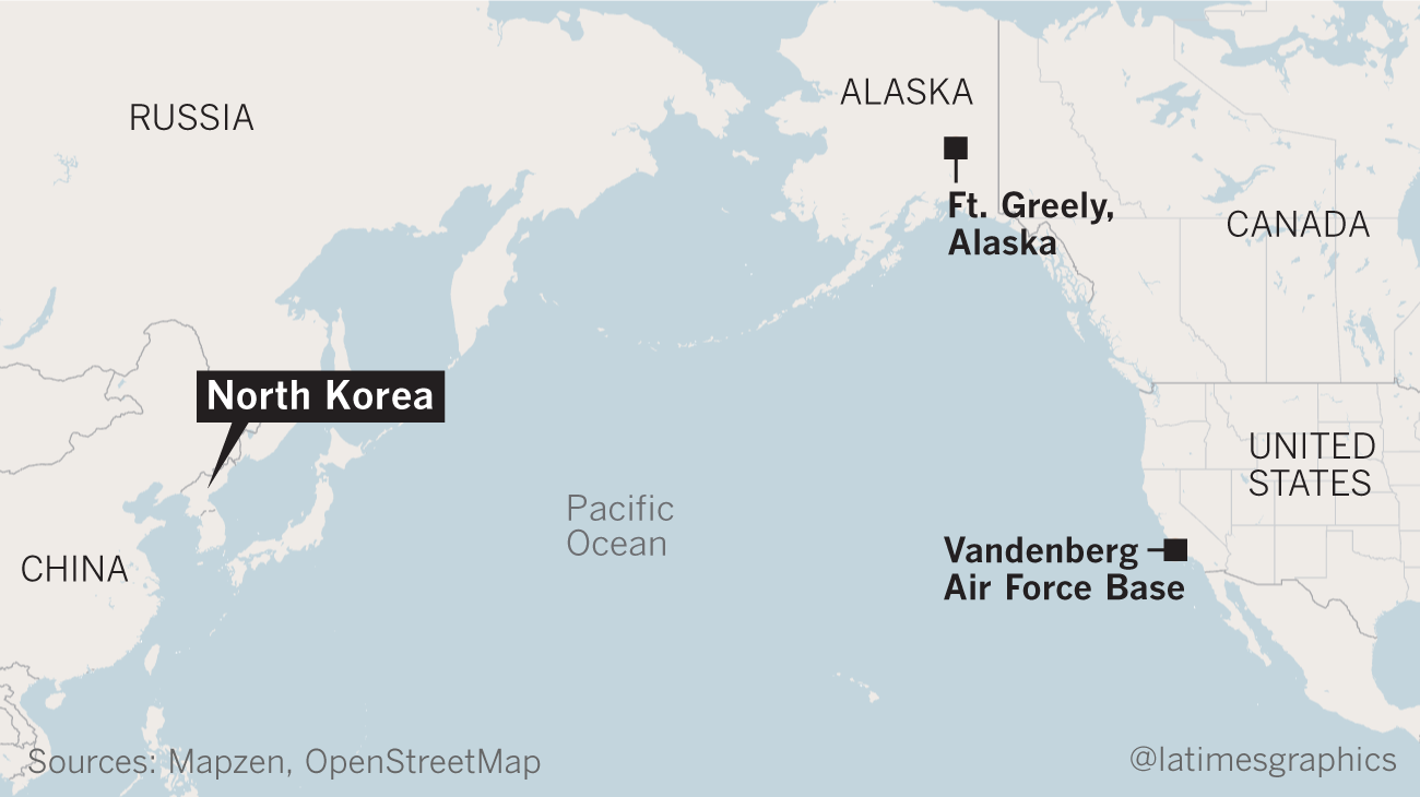 Map shows approximate locations of Ft. Greely, Alaska, and Vandenberg AFB in California.
