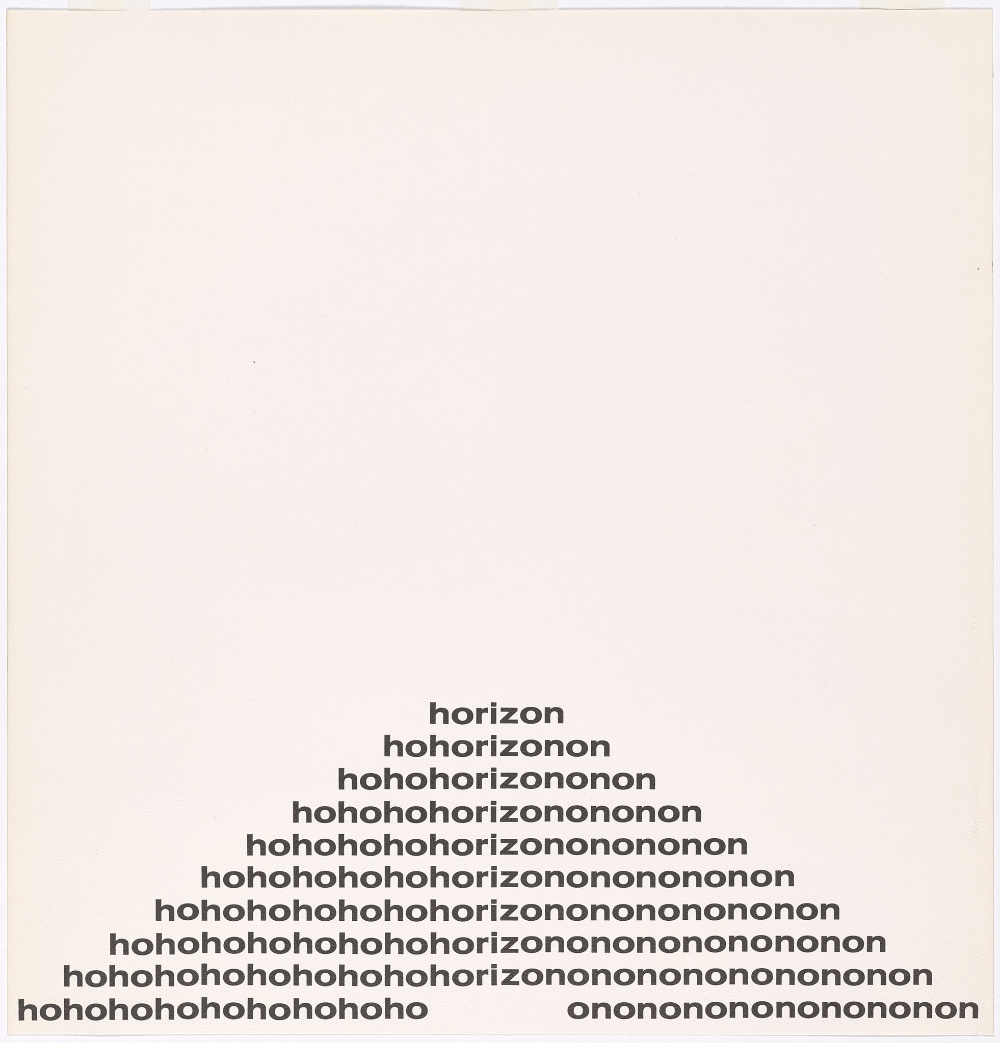 """Ho/Horizon/On,"" by Ian Hamilton Finlay, from an exhibition on concrete poetry at the Getty Research Institute."