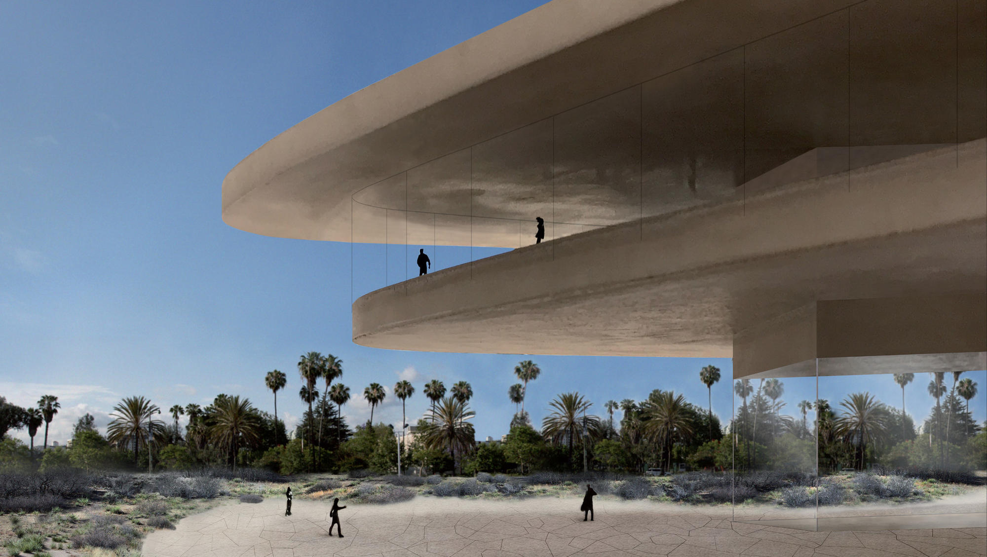The new LACMA design, as it overlooks nearby park space.