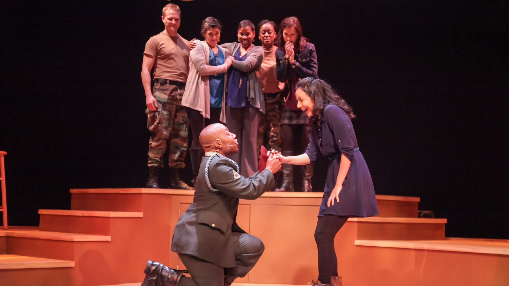 """A scene from """"Downrange,"""" inspired by the lives of military families at Fort Bragg, at the Cape Fear Regional Theatre in Fayetteville, N.C."""