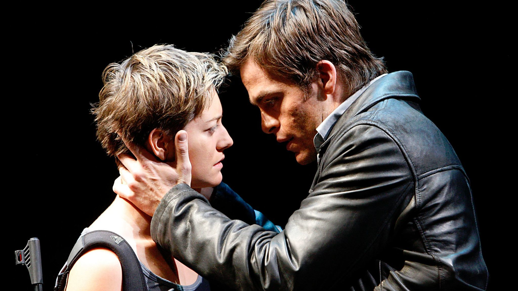 "Chris Pine, right, is Padraic and Zoe Perry is Mairead in ""The Lieutenant of Inishmore"" at the Mark Taper Forum in Los Angeles."