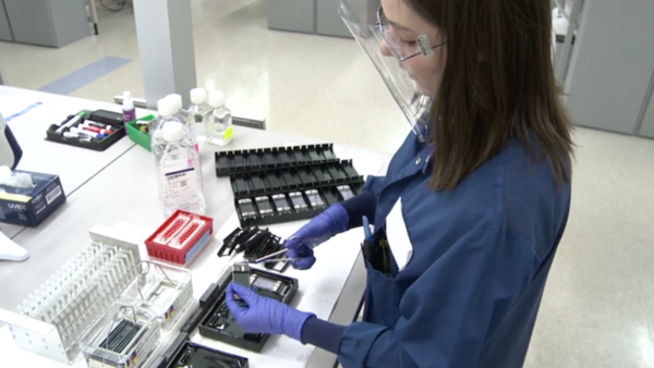 DNA bead chips are cleaned at 23andMe's genotyping lab.